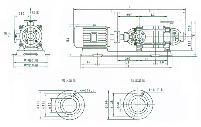 XBD1.8~8.1/5-50W型消防泵 外形及安裝尺寸