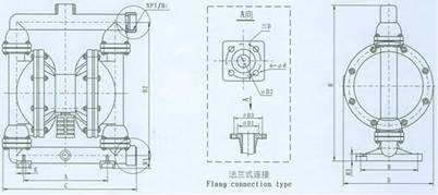 QBY气动隔膜泵 安装尺寸图